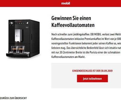 DB Mobil Gewinnspiel 2 Melitta Purista Kaffeevollautomaten