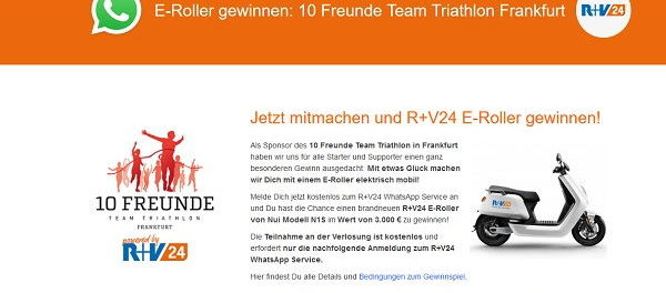 E-Roller Gewinnspiel R+V24 Nui Modell N1S im Wert von 3.000 €