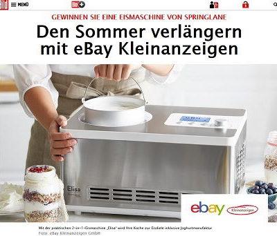 Eismaschine Gewinnspiel Bild.de und ebay Kleinanzeigen