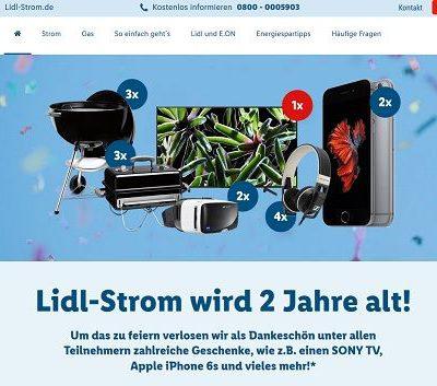 Geburtstags-Gewinnspiel Lidl Strom Apple iPhone und weitere Sachpreise
