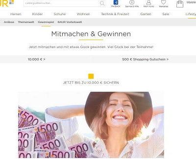 Geld Gewinnspiel - Baur Versand 10.000 Euro und Shopping Gutscheine gewinnen