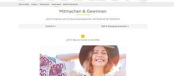 Geld Gewinnspiel – Baur Versand 10.000 Euro und Shopping Gutscheine gewinnen