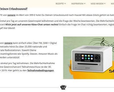 Gewinnspiel - ich liebe Käse Sonoro Internetradio