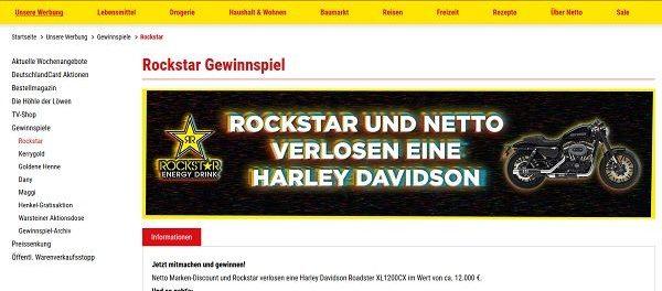 Harley Davidson Motorrad Gewinnspiel Netto und Rockstar Energy Drink