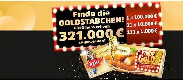 Iglo Gewinnspiel 100.000 Euro Gold Verlosung