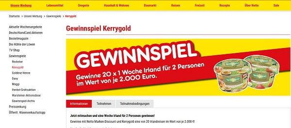 Irland Reisen Gewinnspiel Netto und Kerry Gold 20 Urlaube gewinnen