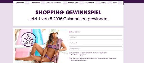 Lascana Gewinnspiel 200 Euro Shopping Gutscheine