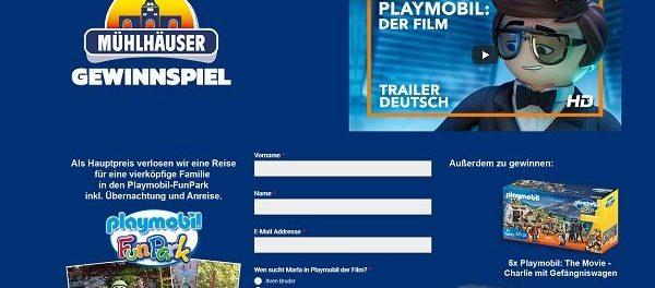 Mühlhäuser Gewinnspiel Playmobil FunPark Familienreise und Spielzeuge