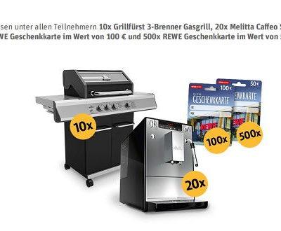 Rewe Online Gewinnspiel Grills Kaffeevolautomaten und Geschenkkarten