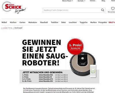 Roomba Saugroboter Gewinnspiel bei Wohn Schick