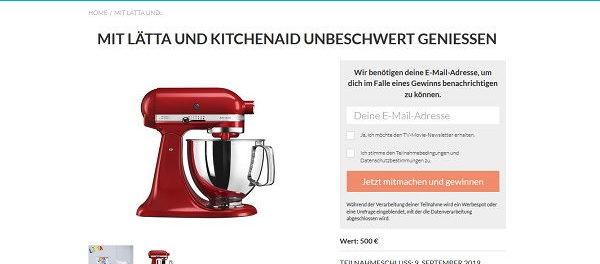 TV Movie Gewinnspiel KitchenAid Küchenmaschine von Lätta