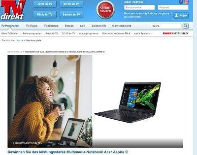 TV direkt Gewinnspiel Acer Aspire Notebook