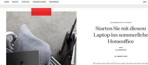 Vogue Gewinnspiele Microsoft Surface Laptop