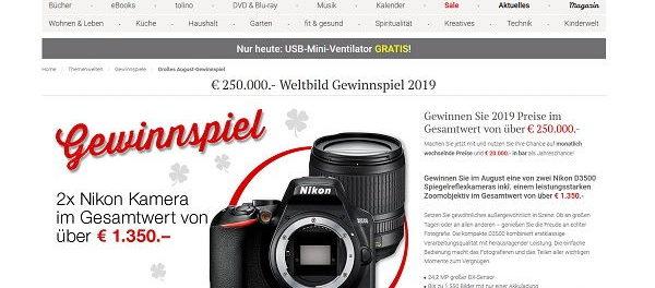 Weltbild Gewinnspiel 2019 2 Nikon D3500 Spiegelreflexkameras