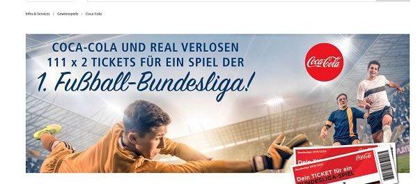 real und Coca Cola Gewinnspiel Tickets 1. Fußball Bundesliga Spiele
