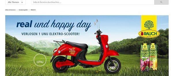 real und Rauch Gewinnspiel UNU Elektro-Scooter gewinnen