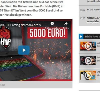 5.000 Euro Notebook Gewinnspiel PC Welt Höllenmaschine