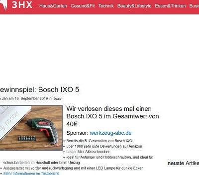 Bosch Ixo Akkuschrauber Gewinnspiel 3HX.de