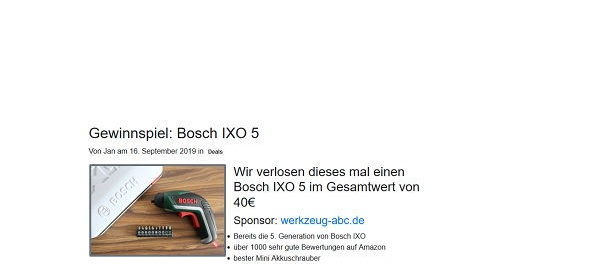 Bosch IXO 5 Akkuschrauber Gewinnspiel 3HX.de