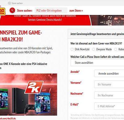 Call a Pizza Gewinnspiel XBox oder PS4 Spielkonsolen NBA2K20