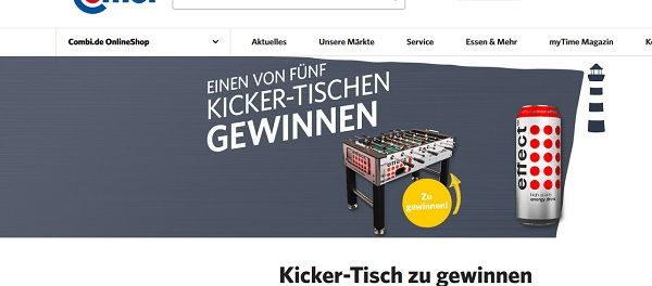 Combi Gewinnspiel effect Energy verlost 5 Kicker-Tische