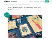 Couch Magazin Gewinnspiel 3 Gutscheine Meinfoto je 400 Euro