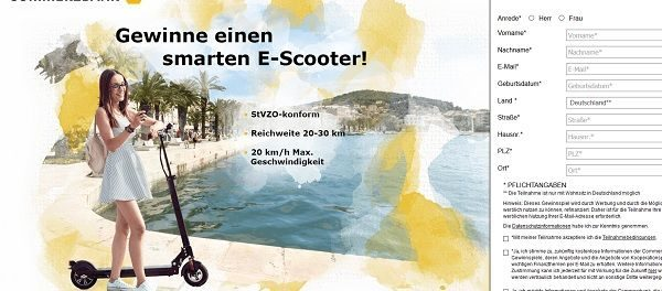 E-Scooter Gewinnspiel E-Roller mit Straßenzulassung