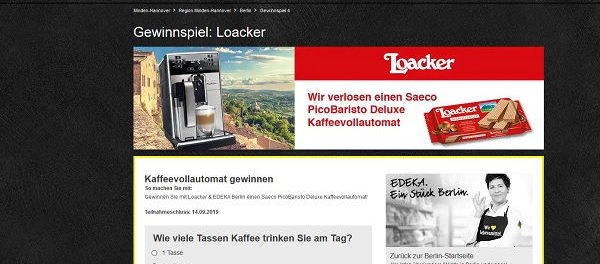 Edeka Gewinnspiel Loacker verlost Saeco PicoBaristo Deluxe Kaffeevollautomat