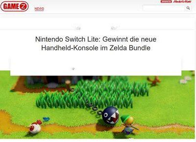 GameZ Gewinnspiel Nintendo Switch Lite mit Zeld Bundle