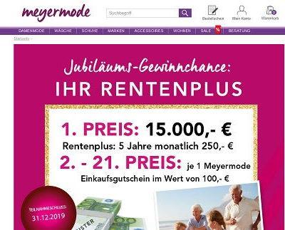Geld-Gewinnspiel Meyer Mode 15.000 Euro und Einkaufsgutscheine