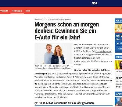 NDR E-Autos Gewinnspiel 10 Autos gewinnen