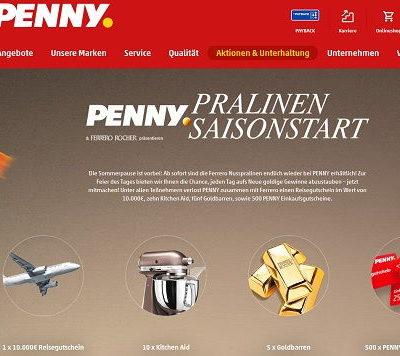 Penny und Ferrero Gewinnspiel 10.000 Euro Reisegutschein Goldbarren und KitchenAid