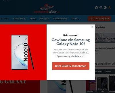 Smartphonepiloten Gewinnspiel Samsung Note 10 Verlosung