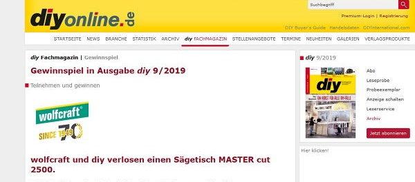 diyonline Gewinnspiel Wolfcraft Sägetisch Master cut 2500
