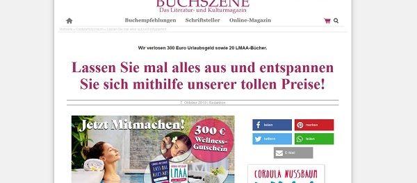 Buchszene Gewinnspiel 300 Euro Bargeld oder Wellness-Gutschein gewinnen