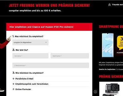 Congstar Gewinnspiel 3 Huawei P30 Pro Smartphone