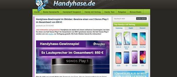 Handyhase Oktober Gewinnspiel 5 Sonos Play 1 Lautsprecher