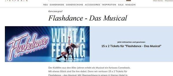 Mona Versand Gewinnspiel 15×2 Karten Flashdance Musical