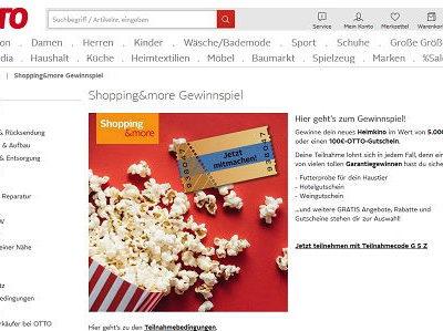 Otto Gewinnspiel Rubbelaktion 5.000 Euro Heimkino Set und Gutscheine