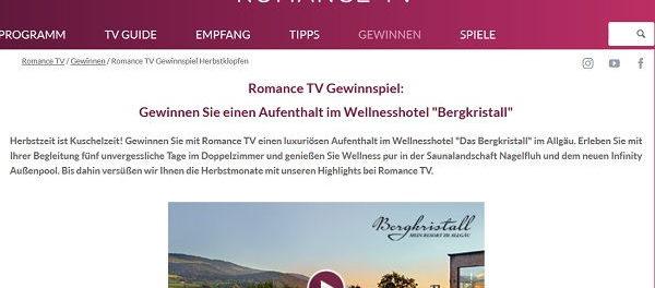 Romance TV Wellness Aufenthalt Gewinnspiel