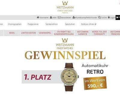 Weitzmann Finest Watches Gewinnspiel 590 Euro Automatik Retro Armbanduhr