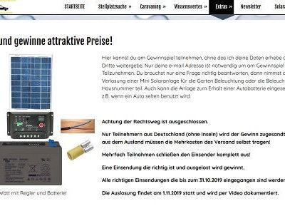 Wohnwagen-Stellplatz Gewinnspiel Camping Solar-Anlage