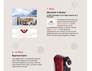 Segafredo verlost 1x Skireisen, 6x Espressomaschine und viele Genußpakete!