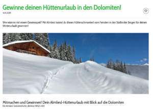 Hüttenurlaub für bis zu 8 Personen in den Dolomiten zu gewinnen!