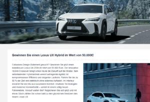 Auto Gewinnspiel: Gewinne einen Lexus UX Hybrid im Wert von 50.000€