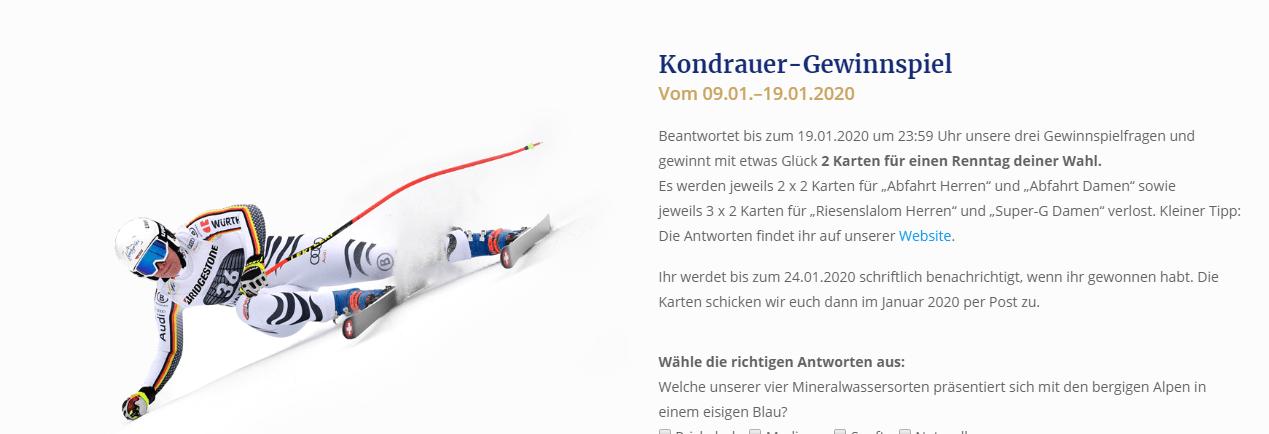 Kondrauer Gewinnspiel: Viele Tickets für den Ski-Weltcup zu gewinnen!
