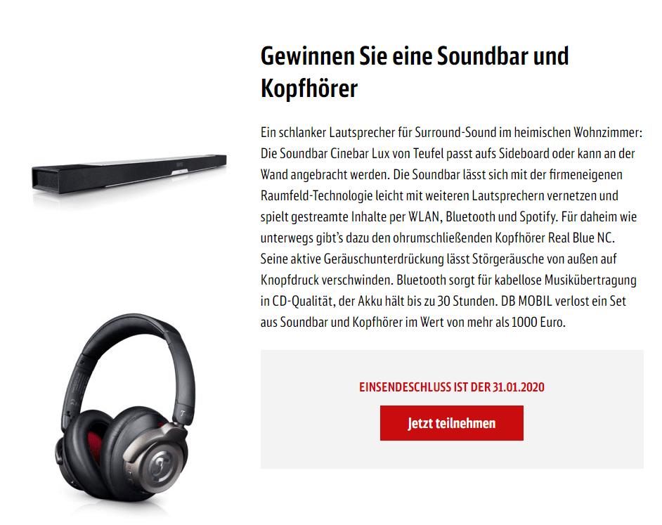 DB Gewinnspiel: Soundbar & Kopfhörer gewinnen!