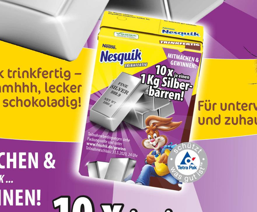 Nesquik Gewinnspiel: 10 x 1 Kg Silberbarren zu gewinnen!