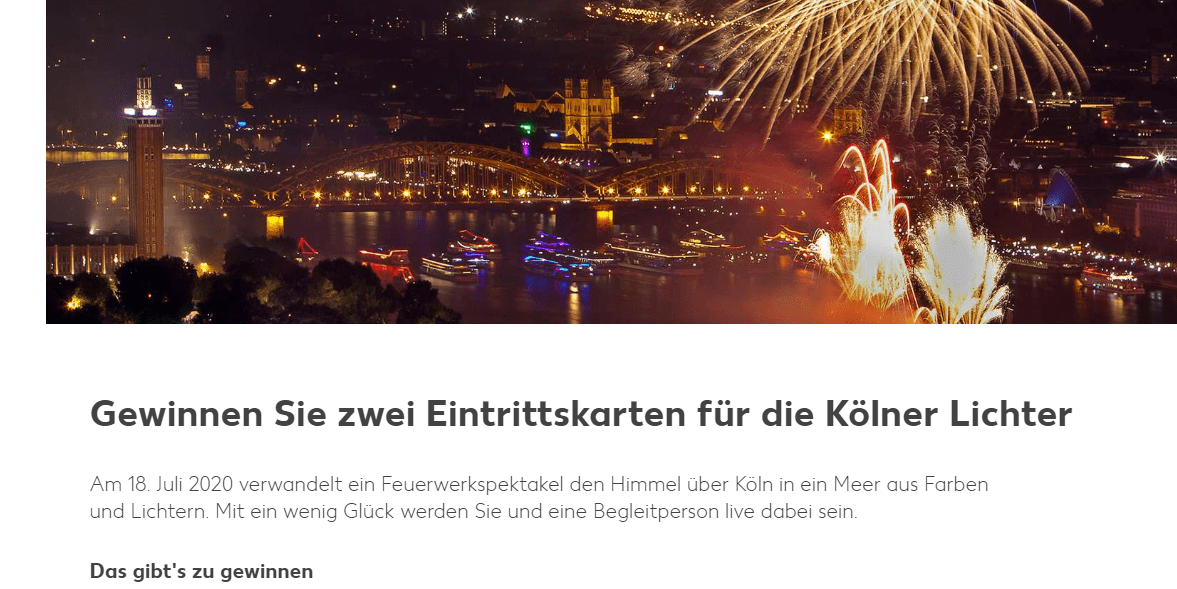 Kaufland Gewinnspiel: 5x 2 Eintrittskarten für die Kölner Lichter mit Hotel!