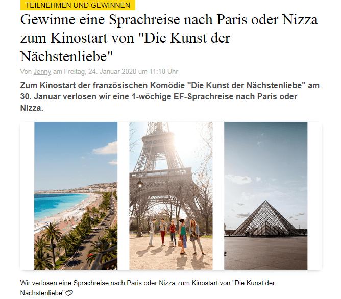 Grazia Gewinnspiel: 1-wöchige Sprachreise nach Paris oder Nizza im Wert von ca. 2000 Euro gewinnen!